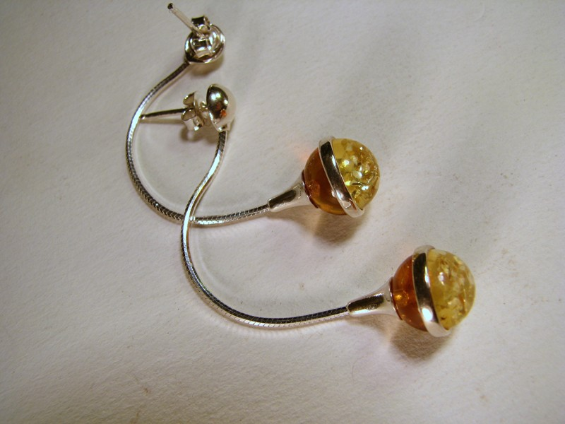 Two colors Baltic Amber Earrings