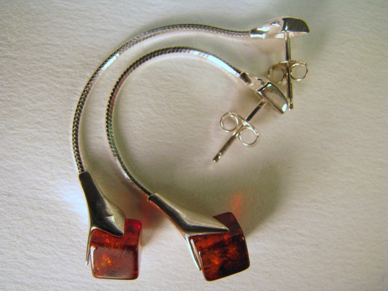 Cognac cubes Baltic Amber earrings
