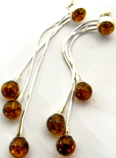 Three strand cognac Baltic Amber Earrings
