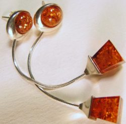 Pyramid shaped honey certified Baltic Amber earrings