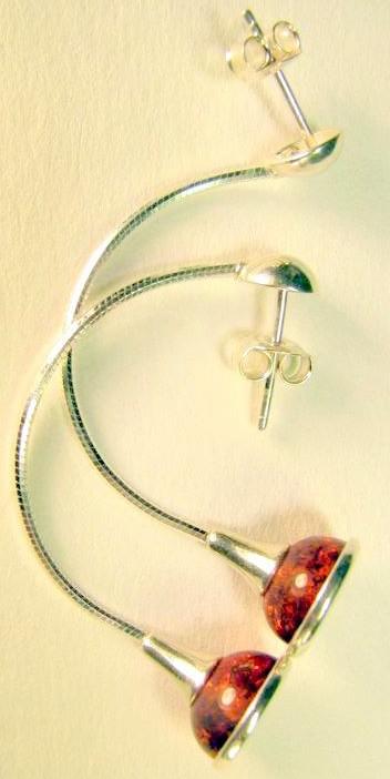 Tolling bells cognac Baltic Amber earrings