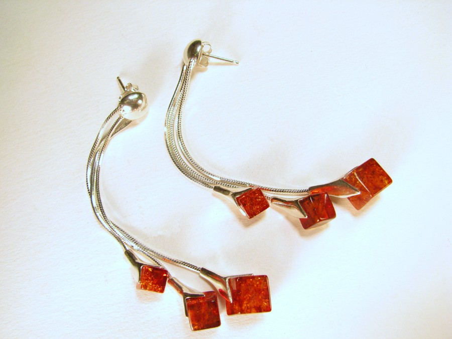Three strand cube shaped cognac Baltic amber earrings