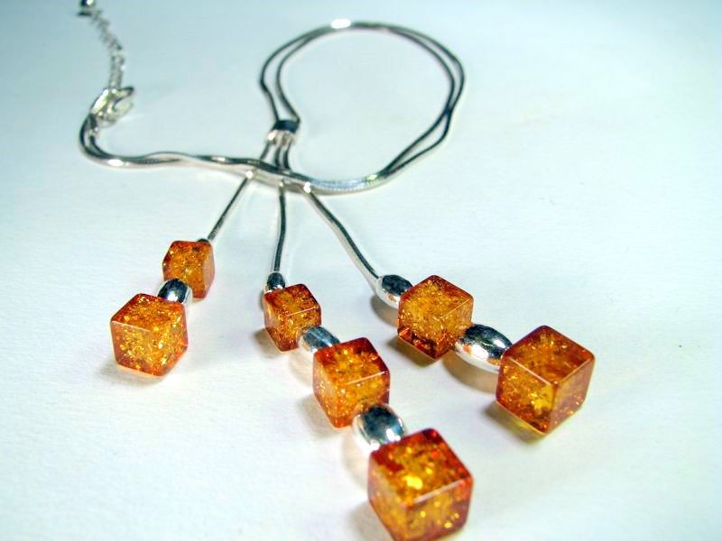 Three Strand Necklace with light honey cubes of Baltic amber