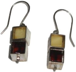 Butterscotch and cherry Baltic amber cube in cube silver housing earrings