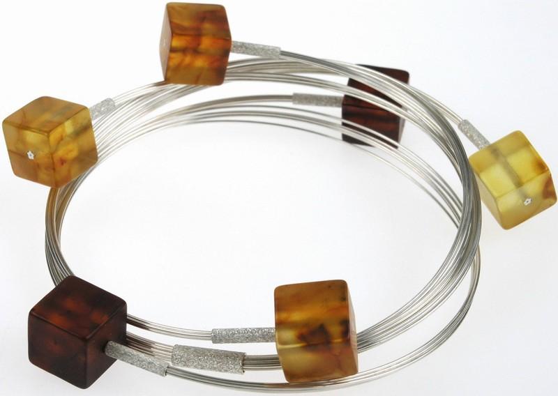 Baltic amber cube bracelet.