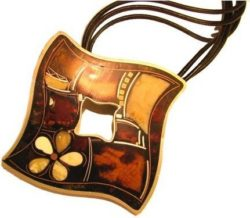Enamel Baltic amber pendant with inlaid multicolored amber nuggets