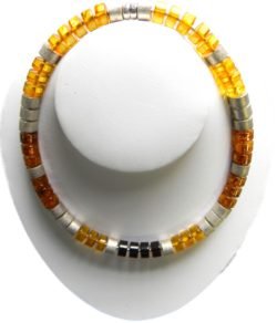 Multicolored Baltic amber,and silver rings necklace