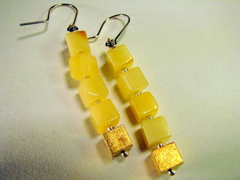 Butterscotch Baltic amber and gold plated cube earrings
