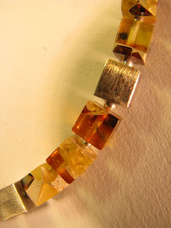 Marbelized Baltic amber cubes and silver necklace