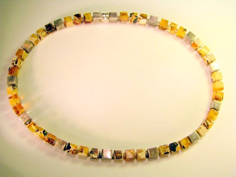 Marbleized Baltic amber and silver cube necklace
