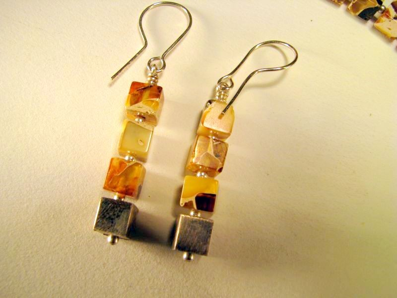 Marbleized Baltic amber cube earring