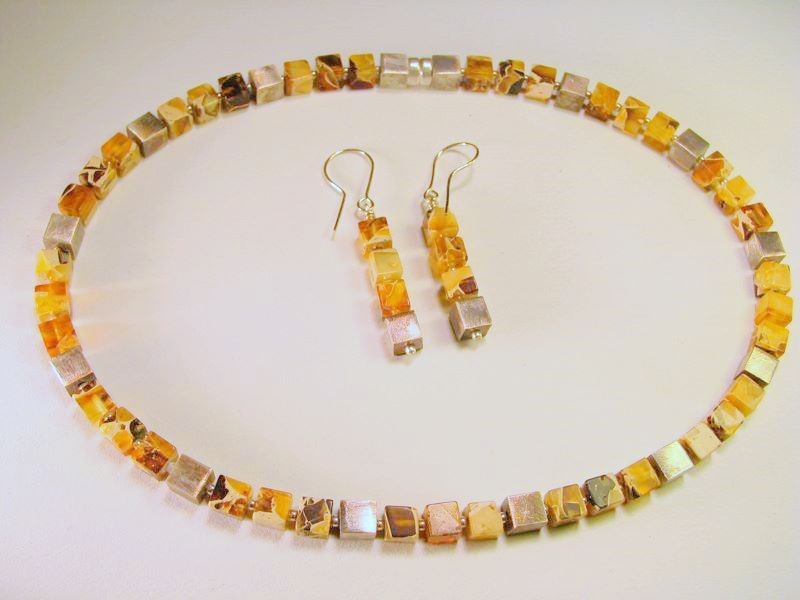 Marbleized Baltic amber cubes and silver necklace and earring set