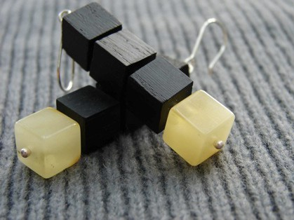 Butterscotch Baltic amber and fossilized oak cube earrings