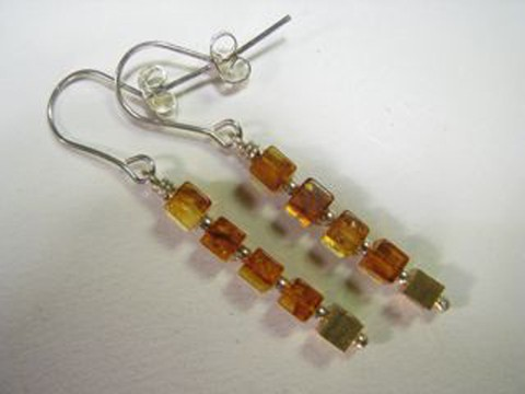 Honey Baltic amber and gold plated cube earring
