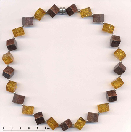 Hone Baltic amber cube and choclate color enamel coated silver cube choker.