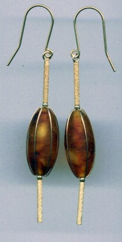 Cognac Baltic amber dates shaped earring