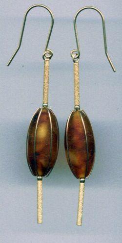 Cognac Baltic amber dates shaped earring
