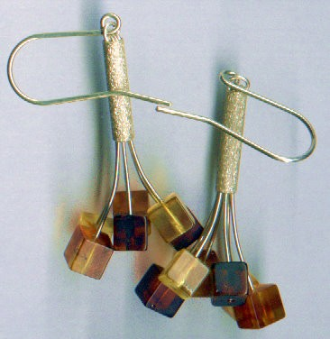 Six color Baltic amber flower earring