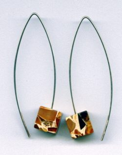 Marble Baltic Amber cube earring