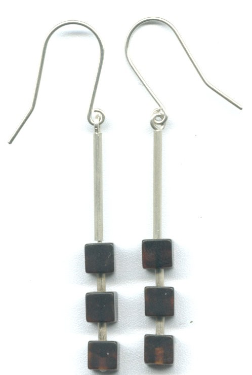 Three cherry cube Baltic amber earrings