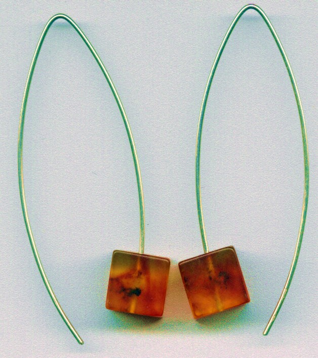 Honey cubes Baltic amber earrings