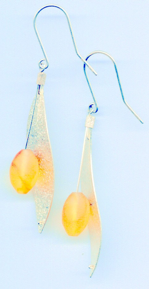 Sterling silver leaves and Baltic amber plum earrings.