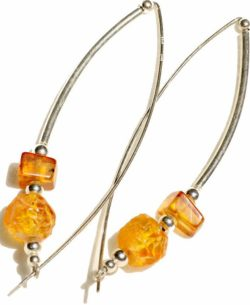 Bow shaped Baltic amber earrings