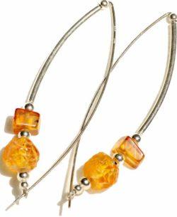 Bow shaped Baltic amber earrings
