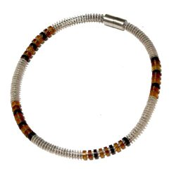 Amber and silver disks necklace
