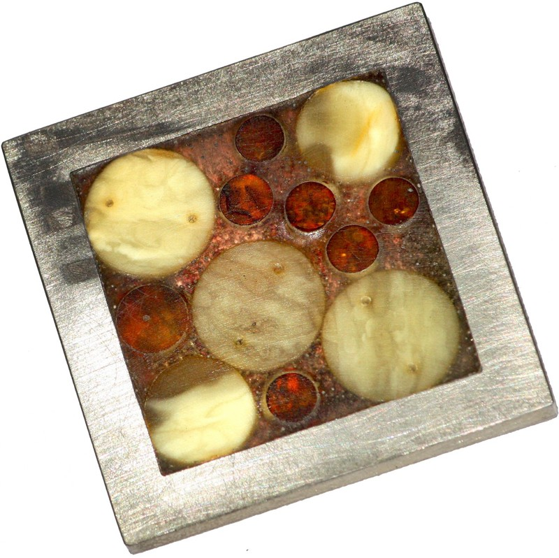 Baltic amber mosaic pin with round amber nuggets