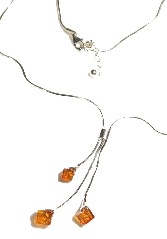 3 diamonds honey Baltic amber necklace