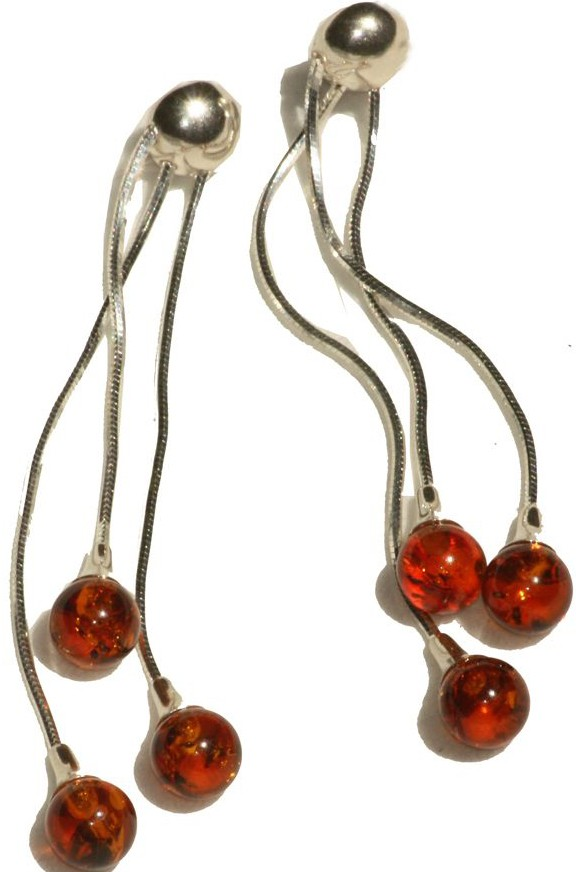 Three strands cognac amber balls earrings.