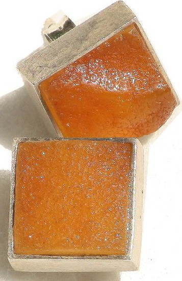 Honey raw Baltic amber square stud earrings
