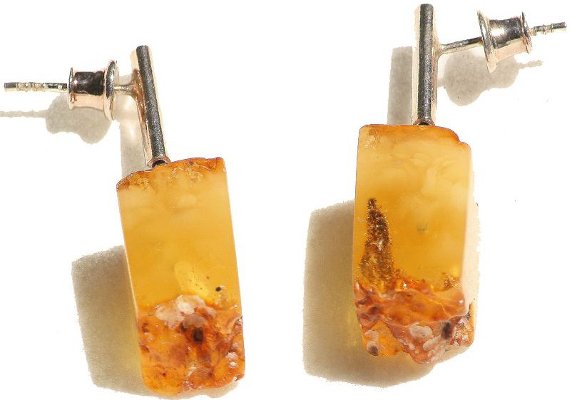 Butterscotch bricks certified Baltic amber earring