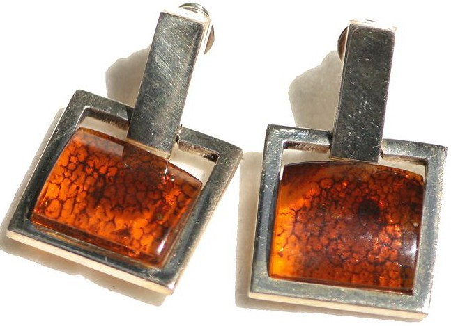 Square cognac semi raw Baltic amber earrings