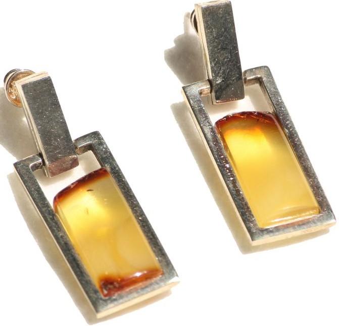 Rectangle butterscotch Baltic amber earring