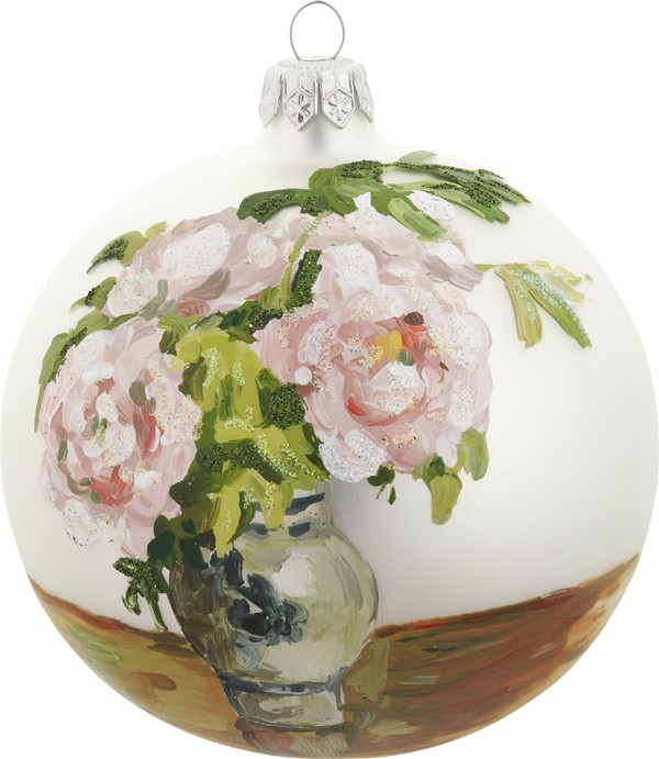 Pissaro's Pink Peonies glass ornament