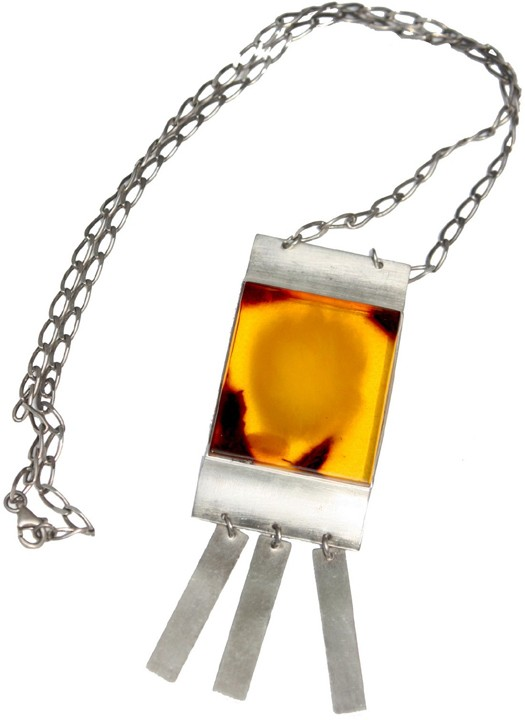 Honey Baltic amber necklace in silver frame with silver fringes
