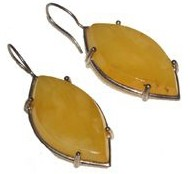 Large tear drop lemon Baltic amber earring one of a kind