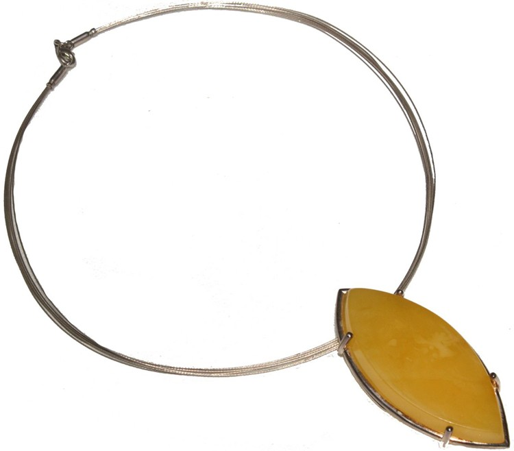 Tear drop lemon Baltic amber one of a kind necklace