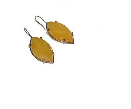 Tear drop lemon Baltic amber one of a kind necklace &earring set