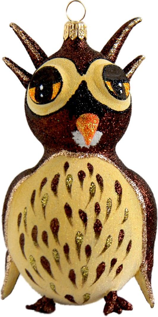 Owl glass Christmas ornament