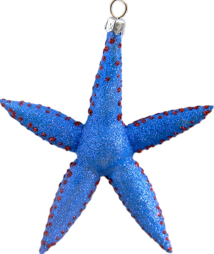 Starfish glass Christmas ornament