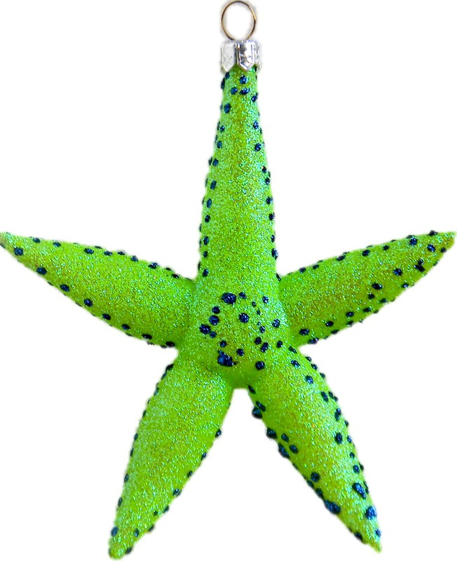 Starfish free blown glass ornament