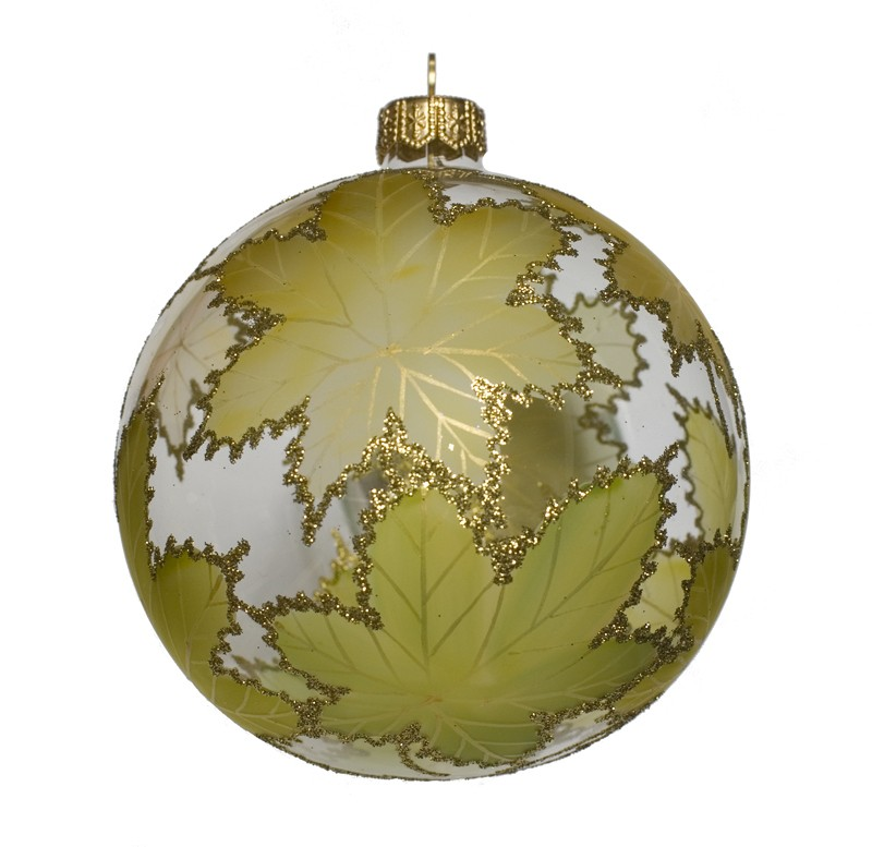 Green Leaves glass Christmas ornament