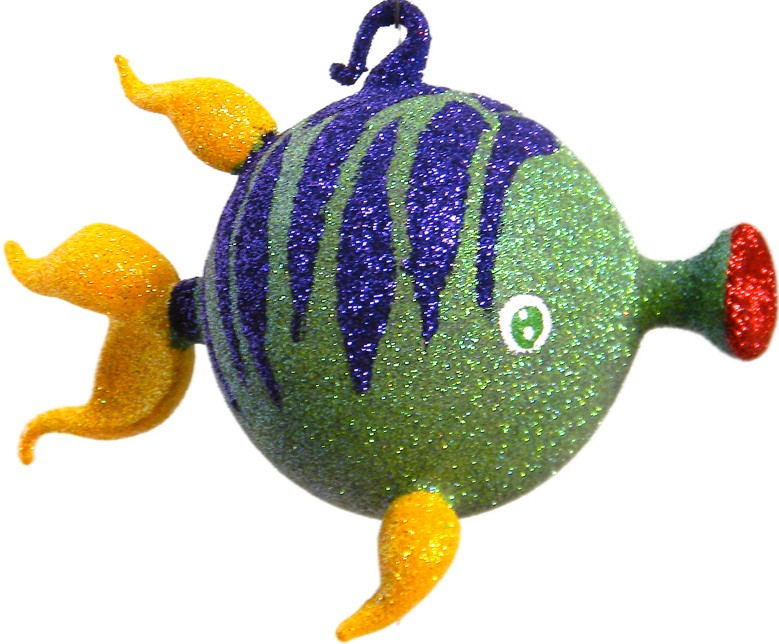 free blown glass Christmas ornament fish