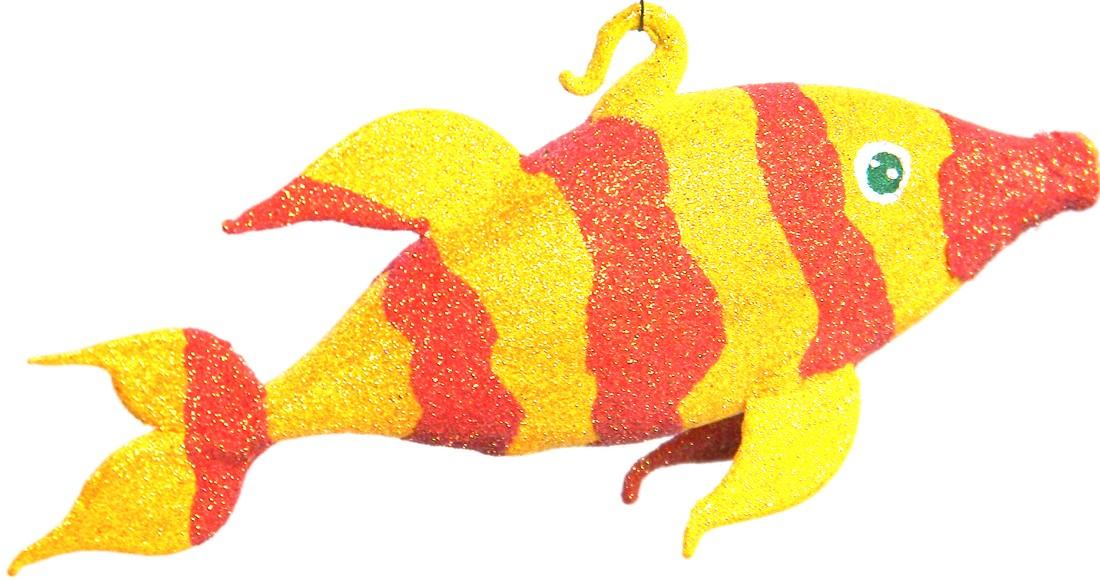 Sunny fish glass Christmas ornament