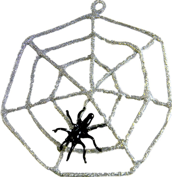 Spider and cobweb glass Christmas ornament