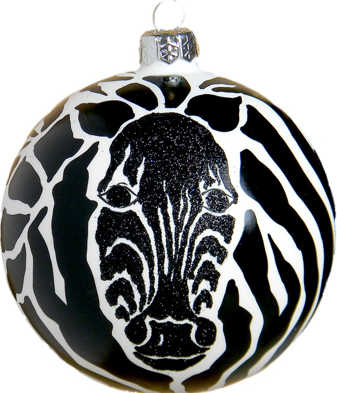 Zebra glass Christmas ornament