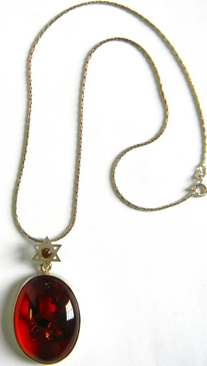 Jewish cognac Baltic amber pendant one of a kind with inclusion and star of David